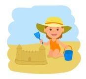 Lite bygger flickan en sandslott Vektorillustration av sommarsemestern på havet royaltyfri illustrationer