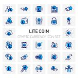 Lite Coin Crypto Currency icons set. For web design and application interface, also useful for infographics. Vector illustration Stock Photos