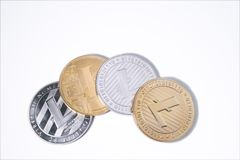 Lite coin on white background with copy space. Virtual cryptocur Stock Images