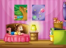 Lite flicka inom hennes färgrika rum vektor illustrationer