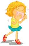 Lite flicka med förkylningar Royaltyfri Fotografi