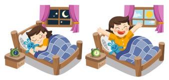 Lite flicka som sover på ikvällen, söta drömmar för bra natt stock illustrationer