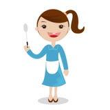 Lite flickamatlagning i ett kök royaltyfria bilder