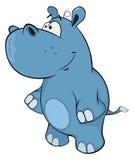 Lite flodhäst cartoon royaltyfri illustrationer