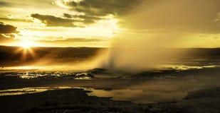 Lite geyser i den Yellowstone nationalparken Arkivfoto
