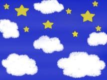 Lite gul stjärna och vit molnteckning på bakgrund för blå himmel stock illustrationer