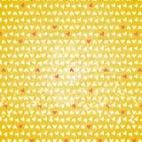 Lite hjärtor på gul bakgrund Fotografering för Bildbyråer