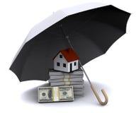 Lite hus med paraplyet Royaltyfri Fotografi