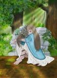 Lite kramar prinsessan hennes lilla drake Royaltyfri Fotografi