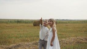 Lite pojke med ett flickaanseende i fältet efter regnet och att se in i himlen stock video