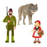 Lite röd ridninghuv stock illustrationer