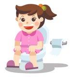 Lite sitter flickan på toaletten vektor stock illustrationer