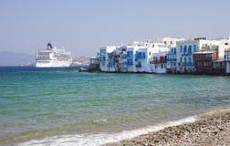 Lite Venedig på den Mykonos ön, Grekland. Royaltyfri Bild