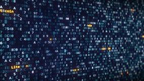 Litecoin加说明出现在改变在屏幕上的十六进制标志中 股票视频