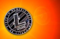 Litecoin é uma maneira moderna de troca e desta moeda cripto Imagem de Stock Royalty Free