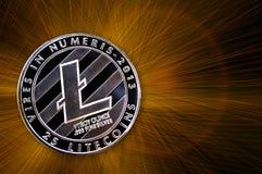 Litecoin é uma maneira moderna de troca e desta moeda cripto Fotografia de Stock Royalty Free