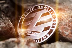 Litecoin é uma maneira moderna de troca e desta moeda cripto Fotos de Stock Royalty Free