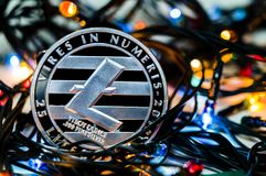 Litecoin é uma maneira moderna de troca e desta moeda cripto Imagens de Stock