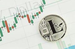 Litecoin é uma maneira moderna de troca e esta moeda cripto é meios de pagamento convenientes nos mercados financeiros e da Web Imagens de Stock Royalty Free