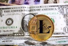 Litecoin ένα δολάριο Στοκ Φωτογραφία