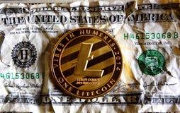 Litecoin ένα συντριμμένο δολάριο Στοκ εικόνα με δικαίωμα ελεύθερης χρήσης