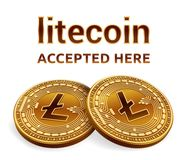 Litecoin. Accepted sign emblem. Crypto currency. Golden coins with Litecoin symbol isolated on white background. 3D isometric Phys. Ical coins with text Accepted Stock Photos