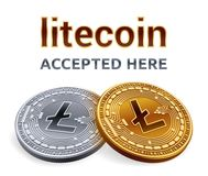 Litecoin. Accepted sign emblem. Crypto currency. Golden and silver coins with Litecoin symbol  on white background. 3D iso. Metric Physical coins with text Stock Images