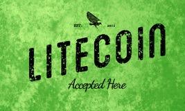 Litecoin aceitou aqui o preto retro do projeto no verde Imagem de Stock