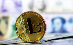 Litecoin agaisnt of different banknotes. Golden Litecoin agaisnt of different banknotes on background. Cryptocurrency Trading concept Stock Photo