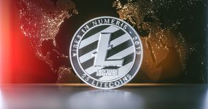 Litecoin avec le worldmap illustration de vecteur