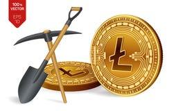 Litecoin-Bergbaukonzept isometrische körperliche Münze des Stückchen 3D mit Hacke und Schaufel Digital-Währung Cryptocurrency Gol vektor abbildung