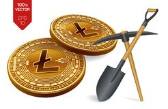 Litecoin-Bergbaukonzept isometrische körperliche Münze des Stückchen 3D mit Hacke und Schaufel Digital-Währung Cryptocurrency Gol stock abbildung