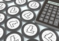 Litecoin.  Bidding on the exchange with Crypto currency. Extraction of crypto currency. Chips with crypto currency symbols and a calculator. 3d illustration Stock Image