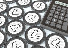 Litecoin Bjuda på utbytet med Crypto valuta Extraktion av crypto valuta Fotografering för Bildbyråer