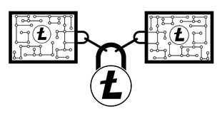 Litecoin block chain technology icon,vector disign,disign concept on a white background. Interlocking the blocks with each other using the lock code Royalty Free Stock Image