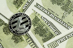 Litecoin, calculator and dollars calculations of the new cryptocurrency. Litecoin, dollars calculations of the new cryptocurrency Stock Image