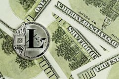 Litecoin, calculator and dollars calculations of the new cryptocurrency. Litecoin, dollars calculations of the new cryptocurrency Stock Images