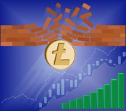 Litecoin coin breaks through the wall resistance. With growth chart on a blue background , the price of crypto currency is rising , vector image design concept Royalty Free Stock Image
