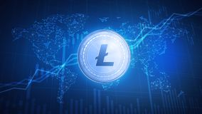 Litecoin coin on hud background with bull stock chart. Stock Photography