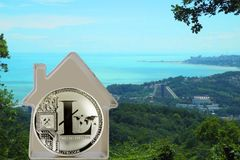 Litecoin coin. In a metal house on a sea cost background. Rent or buy a house for LTC Stock Image