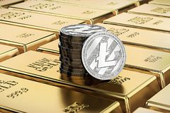 Litecoin coins laying on stacked gold bars gold ingots rendered with shallow depth of field. Concept of highly desirable cryptoc. Urrency. 3D rendering Stock Images