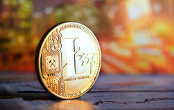 Litecoin  on colorful background. Golden litecoin on colorful background Stock Photography