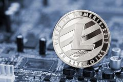 Litecoin crypto currency computer mining concept Royalty Free Stock Photo