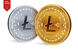 Litecoin. Crypto currency. 3D isometric Physical coins. Digital currency. Golden and silver coins with Litecoin symbol isolated on. White background. Block Royalty Free Stock Image