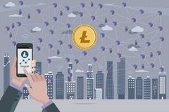 Litecoin Cryptocurrency και δίκτυο Blockchain Στοκ εικόνα με δικαίωμα ελεύθερης χρήσης