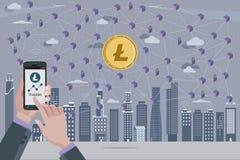 Litecoin Cryptocurrency e rete di Blockchain Immagine Stock Libera da Diritti