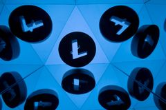 Litecoin Currency Symbol With Many Mirroring Images of Itself stock illustration