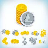 Litecoin. 2D cartoon bit coin. Digital currency. Cryptocurrency. Golden coins with symbol isolated on white background. Stock vector illustration Royalty Free Stock Photo