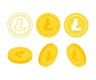 Litecoin 3d sänker isometriska pengar Arkivbild
