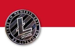 litecoin da moeda da ilustração 3D na bandeira de Mônaco Fotografia de Stock Royalty Free